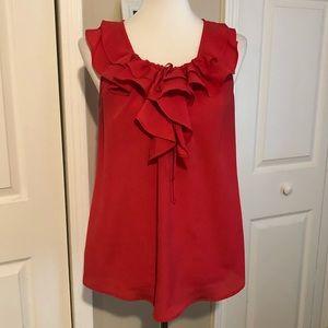 Red ruffle sleeveless blouse